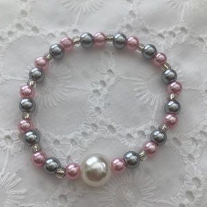 Gray and pink bracelet